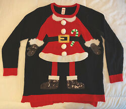 Holiday Time Women#x27;s Christmas Sweater Black amp; Red Plus Size 1X 16W $14.95