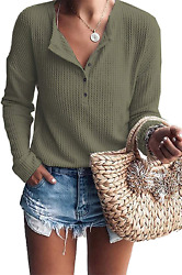 Womens Tops Long Sleeve Henley Shirts Waffle Knit V Neck Button Down Blouses $16.99