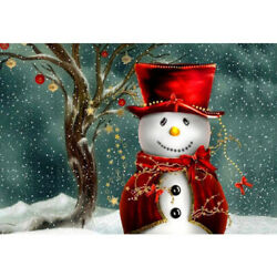 Christmas Gifts 5D Diamond DIY Painting Snowman In Hat Photo Full Drill Hobby $11.99