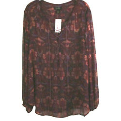 NWT Jessica Simpson Lace Up Tie Front Blouse Artsy Flowy Boho 2X Hi Low Tunic $41.21