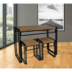 Small Space Dining Table Sets Wood amp; Metal Chairs Kitchen Room Furniture 3 pcs $139.21