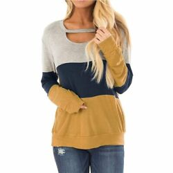 Pullover Party Fall Blouse Shirts Tops Career Splicingc Stylish Lady#x27;s $18.72