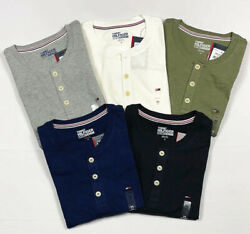 NWT Tommy Hilfiger Men#x27;s Short Sleeved Henley T Shirt Cotton S M L XL 2XL $24.99