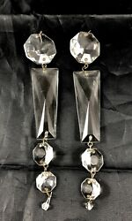 Pair Vintage Chandelier Cut Crystal Glass Basket Chain Octagonamp;Coffin 6quot; Length $10.99