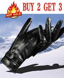 Warm Mens Winter Gloves Leather Motorcycle Full Finger Touch Screen Warm Gloves $6.85
