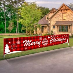 9FT Large Merry Christmas Banner Sign Santa Xmas Outdoor Indoor Decoration Home $11.98