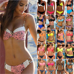 Womens Push Up Padded Bikini Set Ladies Swimsuit Swimwear Beachwear Bathing Suit $13.20