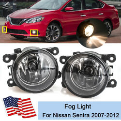 Bumper Fog Light Lamp For Nissan Sentra 2007 2012 Clear Lens w Bulbs Replacement $28.89