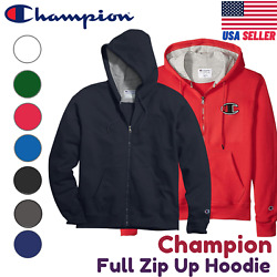 Champion S800 Full zip up Hoodie Jacket SweatShirt Eco Fleece Front Pockets S XL $20.95