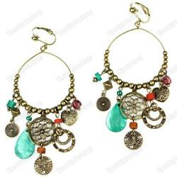 CLIP ON 3.75quot;long BIG CHANDELIER EARRINGS vintage brass GYPSY shell CHARMS beads GBP 3.99