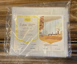 New Vintage Mid Century Sears Entree Tailored Panel Curtain White 40quot; x 63quot; $19.99