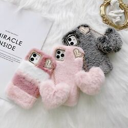 For iPhone 12 11 Pro Max XR X 7 8 Girl Cute Heart Fluffy Soft Warm Case Cover $9.32