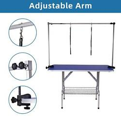 48quot; Dog Cat Pet Grooming Table Portable Folding Adjustable Noose Arm Mesh Tray $167.49