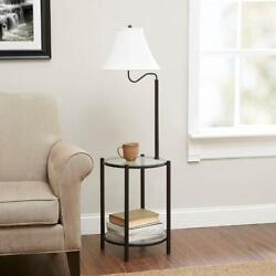 End Table with Floor Lamp Tan Shade Glass Top and Shelf Rack Black Metal Legs $47.61