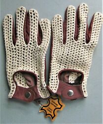 Driving Gloves Leather Size Small New Men#x27;s Cognac Crochet Top $13.95