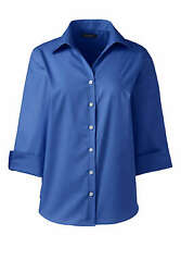 LANDS END OUTFITTERS Womens 3 4 Sleeve Poplin SHIRT 2 Colors Szs 8 or 16 NWT $18.80