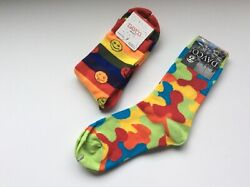 2 PAIRS WOMENS NOVELTY SOCKS * SMILEY FACES GEOMETRIC * MULTI COLOR * NWT * $10.99