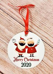 Funny 2020 Mr And Mrs Claus Mask Sanitizer Christmas Ornament 2020 Keepsake $9.99
