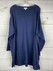 Styleamp;Co Sweater Womens Plus 3X Industrial Blue Ribbed Sleeve Tunic Pullover NWT $17.59