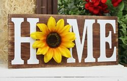 Farmhouse Sunflower quot;HOMEquot; Wood Sign Home Decor Rustic Shelf Sitter 12quot; X 5.5quot; $14.99