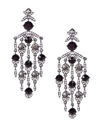Givenchy Crystal Chandelier Earrings Black amp; Hematite Tone 3 1 2quot; Drop NEW $64.00