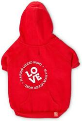 Dog Red Fleece Hoodie Love is a Four Legged Word by Reddy New with Tags $9.98