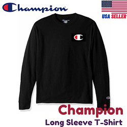 Champion Long Sleeve Tee Shirt C logo Cotton Regular Fit Crew Black Grey S M $12.95