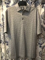 FootJoy Mens Medium Gray Floral Golf Polo Polyester FJ Short Sleeve Logo $34.99