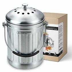 Countertop Compost Bin with lid 1.3 Gallon Stainless Steel Compost Silver $39.79
