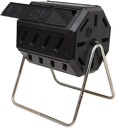 FCMP Outdoor 37 Gallon Dual Chamber Tumbling Composter Bin for Soil Open Box $125.23
