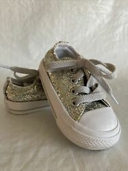 Converse All Star Toddler Girls Size 4 Silver Glitter Worn Once Or Twice EUC $19.99