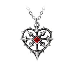 Alchemy Gothic Red Swarovski Chaos Spiked Heart Pewter Silver Pendant Necklace