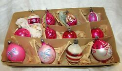 Vintage Box of Large Pink Shiny Bright Ornaments Stenciled $30.00