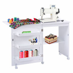 Craft Table Shelves Storage Cabinet Home Furniture W Wheels White Folding Swing $39.99