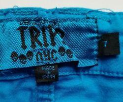 Tripp NYC Skinny Jeans Size 7 Juniors Womens Low Rise Skulls Blue Stretch $22.00