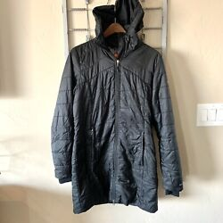 Columbia Omni Heat Long Puffer Quilted Light Jacket Black Hooded Womens M $54.99