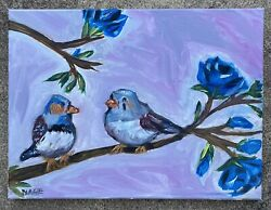original oil painting birds Impressionism Canvas Modern Art Flowers $50.00