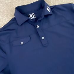 FOOTJOY Mens Medium Navy Blue Athletic Fit Short Sleeve Golf Polo Shirt Pocket $22.00