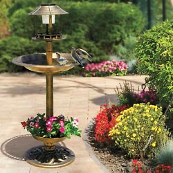 4 in 1 Bird Bath with Solar Light and Planter Lightweight Antique Garden NEW $55.00