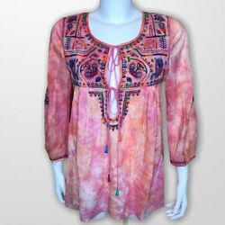 Calypso St Barth Womens Top Tunic M Tie Dye Embroidered Sequin Boho Pink Orange $29.99