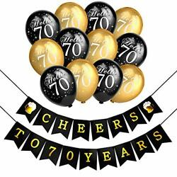 Decorations Kit Cheers 70th Birthday Banner Latex Balloons Black Party Favor New $16.65