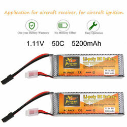 2x 11.1V 5200mAh 50C 3S Lipo Battery Traxxas Plug for RC Helicopter Airplane Car $53.99