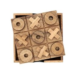 Tic Tac Toe Board Games for Families Classic Home Coffee Table Decor Wood $9.99