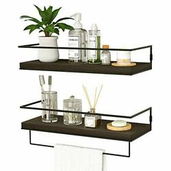 Floating Shelves for Wall Set of 2 Wall Mounted Storage Shelves Deep Brown $38.26