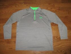 Men#x27;s Under Armour Heat Gear 1 4 Zip Grey Green Loose Pullover Shirt Sz. L $18.88