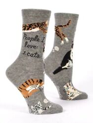 Blue Q Funny Novelty Women#x27;s Crew Socks People I Love: 1. Cats Gray $9.79