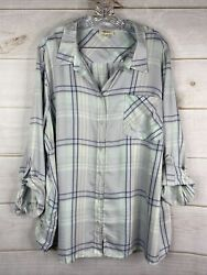 STYLEamp;CO NWT Womens Plus 3X Mint Green Plaid Button Down Shirt Roll Tab Sleeve $15.99