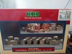 Lemax Poly Resin Colonial Stone Wall Set of 10 in box. $28.00