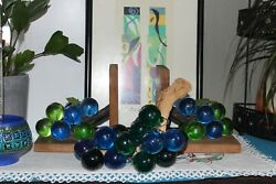 Vintage Mid Century Retro Lucite Book Ends and Grapes Set Blue Green acrylic $69.99