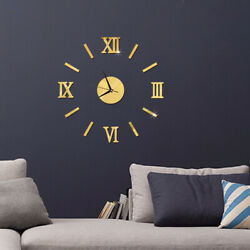New DIY Wall Clock 3D Mirror Surface Sticker Removable Home Office Room Decor $12.39